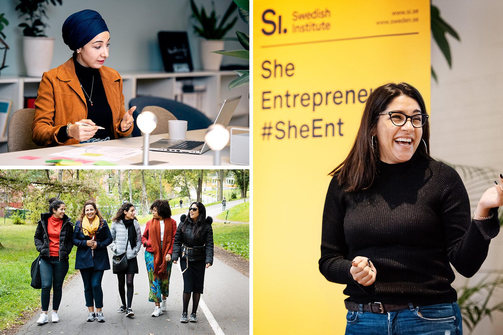 Fotokollage som föreställer en grupp av kvinnor som promenerar, en kvinna som arbetar framför en dator samt en som håller ett föredrag.