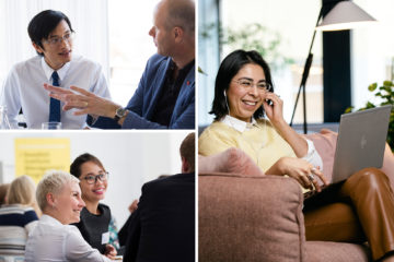 A photo collage showing people conversating and a woman in a online meeting.