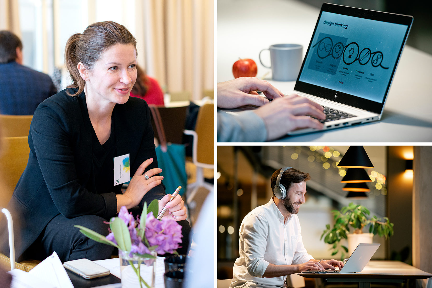 A photo collage showing a woman in a converastion, a man in front of a lap top in an online session and hands typing on a laptop.
