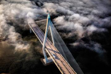 The Uddevalla Bridge, enveloped in fog.