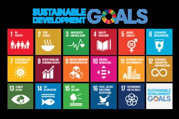 Grafisk illustration som visar de 17 globala målen.