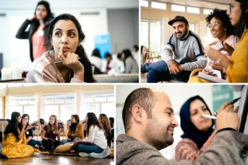 Four different images showing young men and women in a classroom.