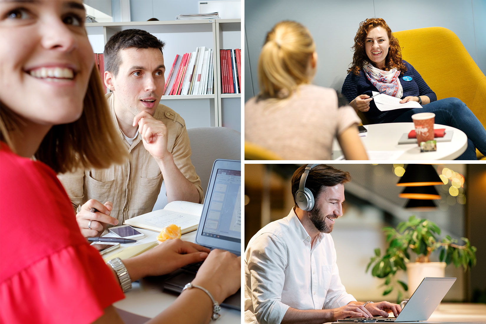 A photo collage showing men and women conversating and in front of a computer.