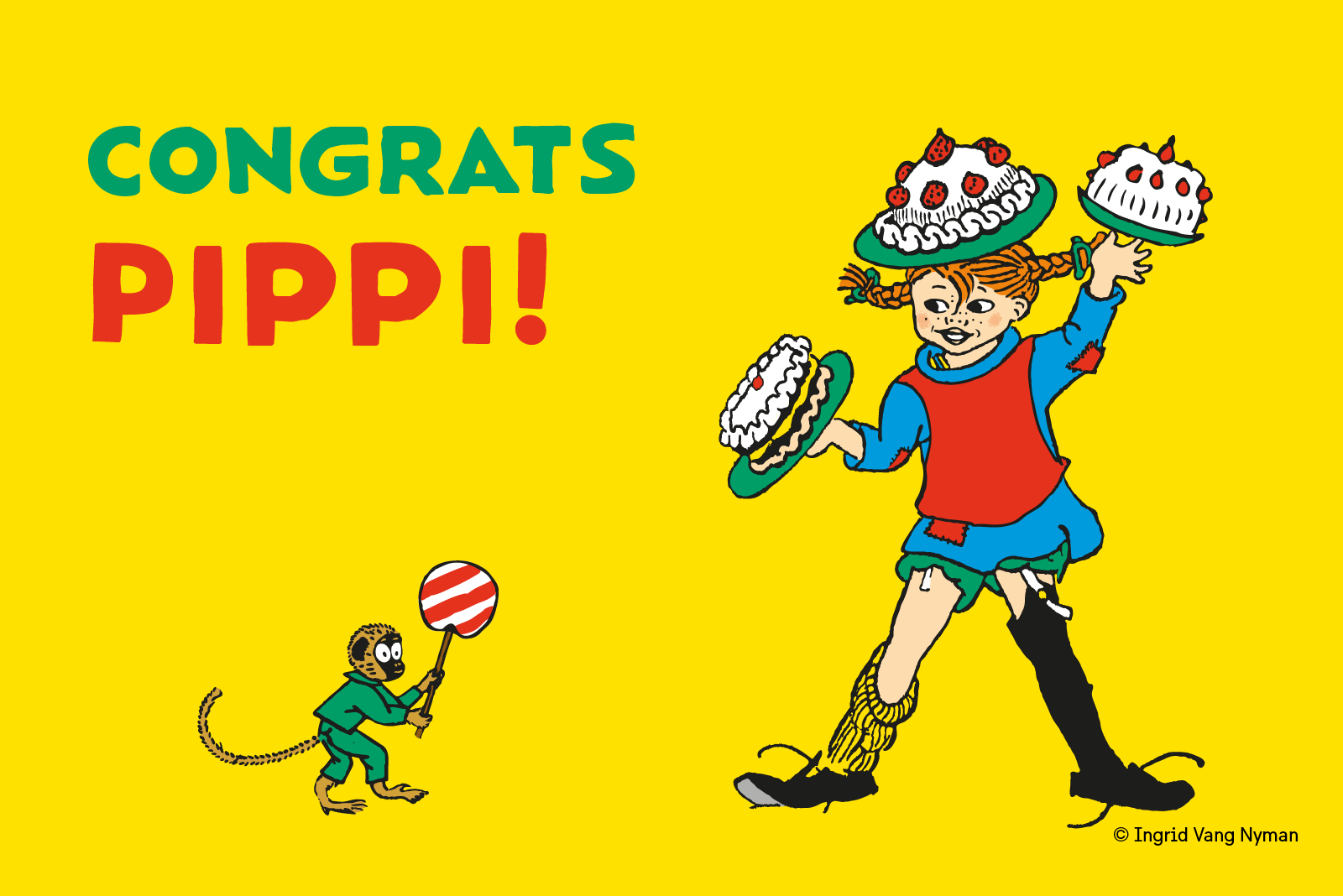The illustration aims to highlight the 75th anniversarie of Pippi Longstocking. Pippi holds three cakes, one on her head and one in each hand. On the side is Mr Nilsson with a huge lollipop.
