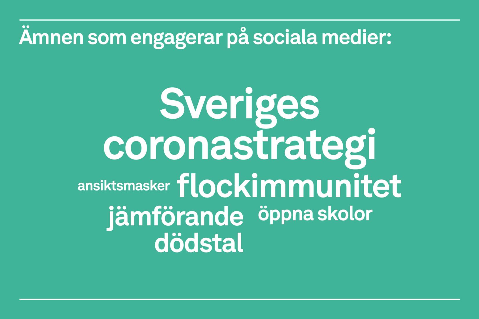 Ämnen som engagerar på sociala medier i samtal om Sverige och coronapandemin 19 augusti - 1 september 2020