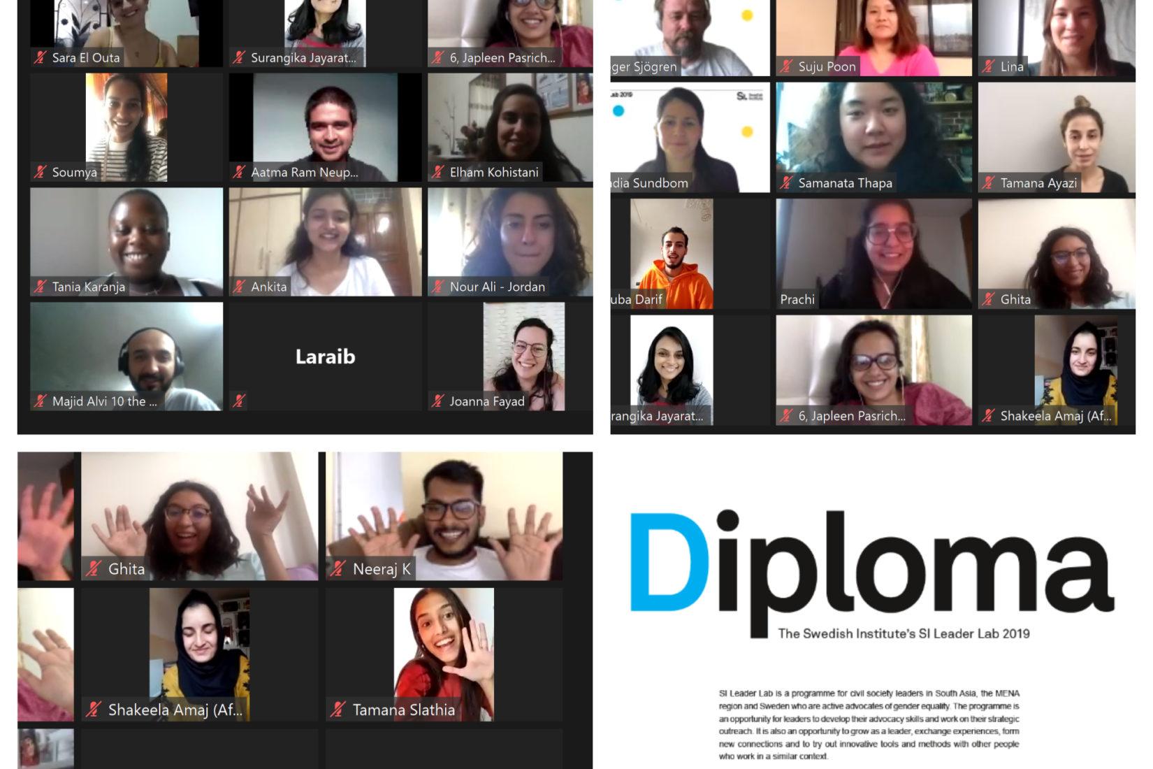 Bildkollage som föreställer personer som deltar i ett videomöte.