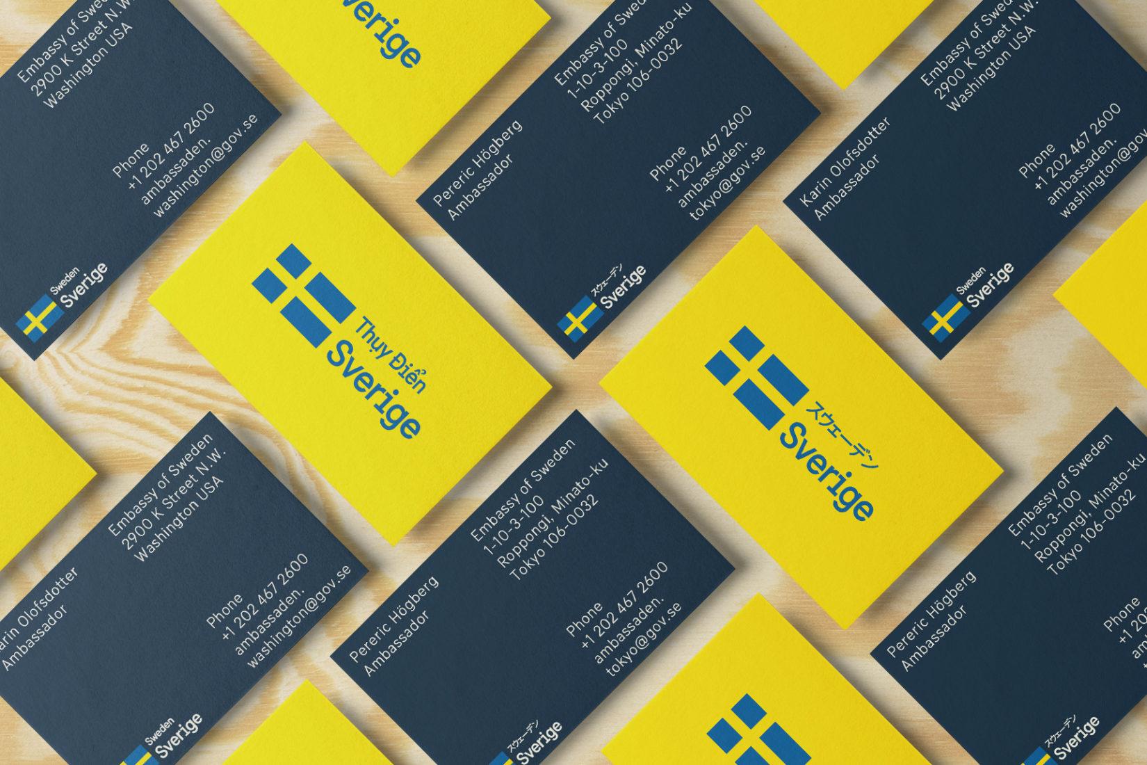 Exempel på Sveriges Visuella identitet