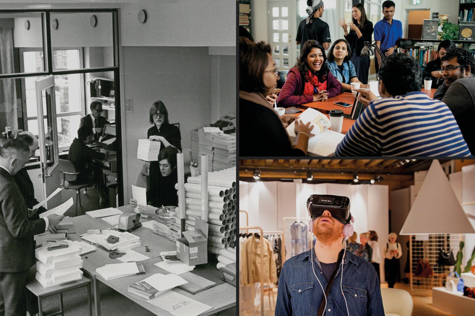 Tre bilder som illustrerar SI genom åren. Den första från 60-talet i svartvitt, de två andra i färg visar några studenter samt en man med VR-glasögon.