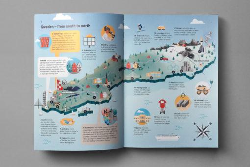 Tecknad karta över Sverige med städer och vad som utmärker regionen.