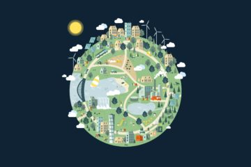 An illustration on the Globe showing a holistic world with renewable energy sources, sharing ecenomy, energy recovery and waste management systems.