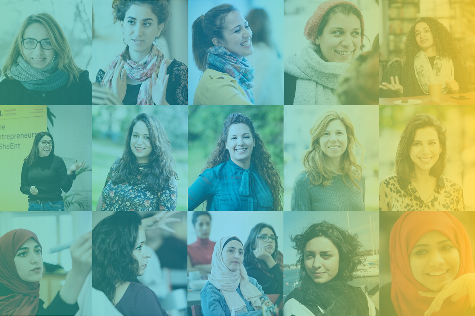 A photo collage of portrtaits of various women, all former participants in the leadership program She Entreprenuers.