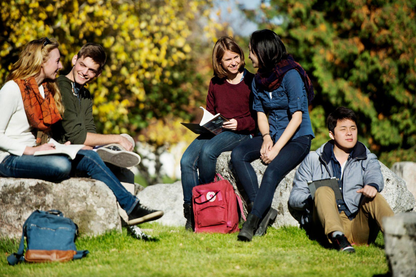 En grupp studenter som sitter utomhus och umgås och studerar.