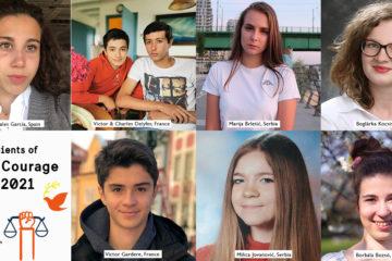 Porträtt av de 8 mottagarna av Young Courage Award