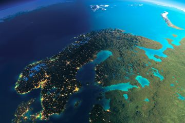 Bild över Sverige från ovan.