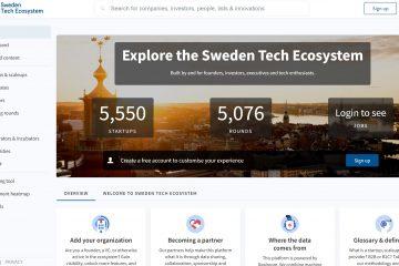 """Bild på plattformen som visar första sidanmed texten """"Explore the Sweden Tech Ecosystem"""""""